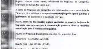 Horário Junta de Freguesia para comunicação de queimas e queimadas