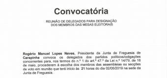 Convocatória –  Reunião de delegados para designação dos membros das mesas eleitorais