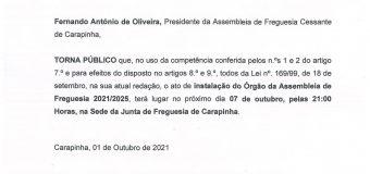 Instalação do Órgão da Assembleia de Freguesia 2021/2025